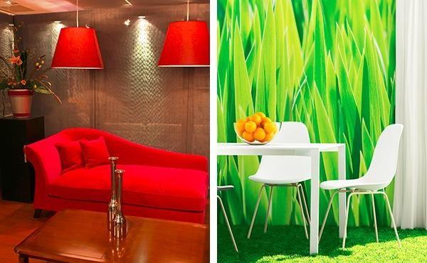 Яркие цвета в интерьере гостиной