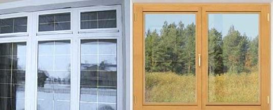 Окна пластиковые или деревянные.