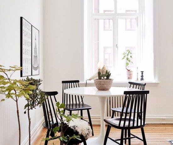 Оформление столовой зоны с круглым столом