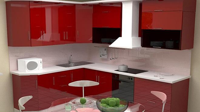 Глянцевые фасады шкафов расширят пространство небольшой кухни