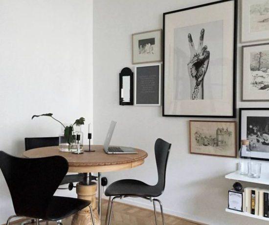 Столовая зона в интерьере гостиной
