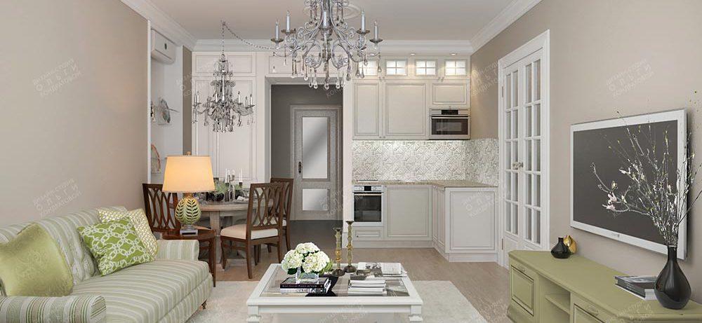 Дизайн интерьера светлой гостиной, совмещенной с кухней