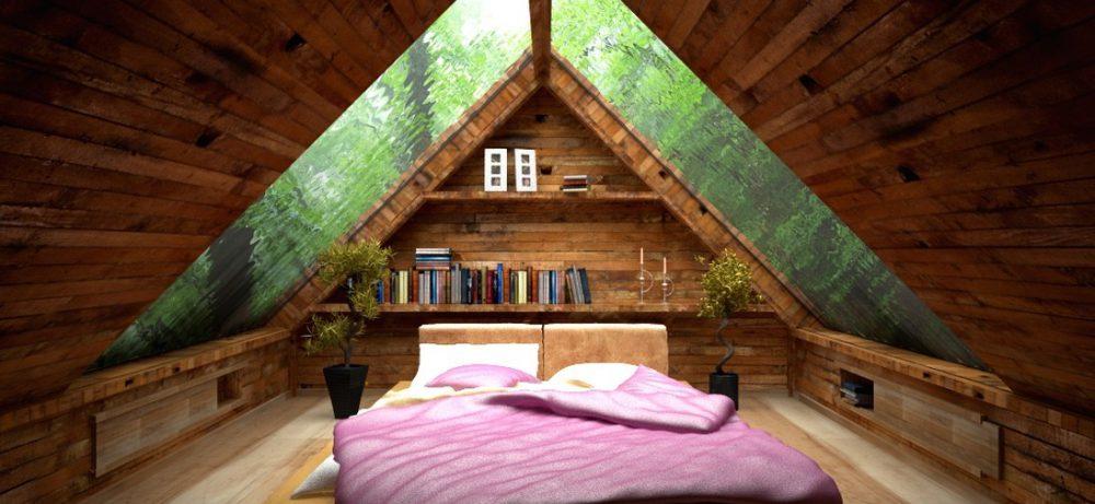 Мансарда — интерьер спальни