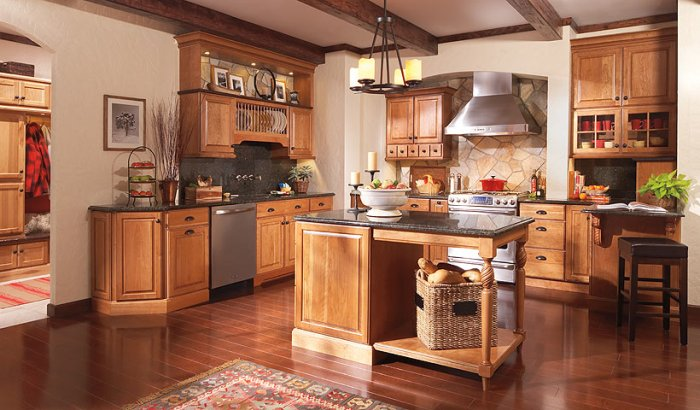 Кухонный дизайн – забытая прелесть фактур из натурального дерева