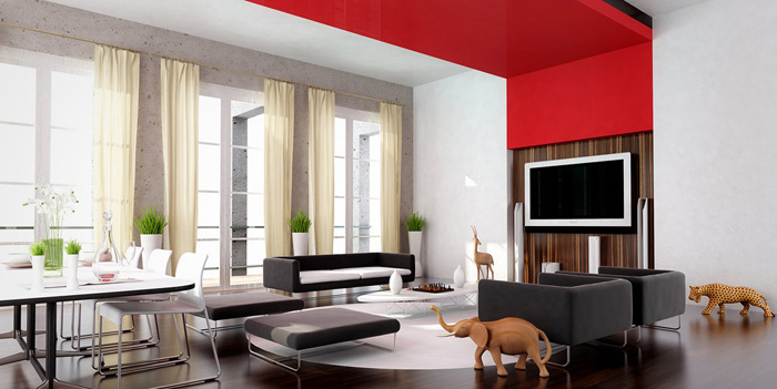 Оформление комнат в красно-белых тонах