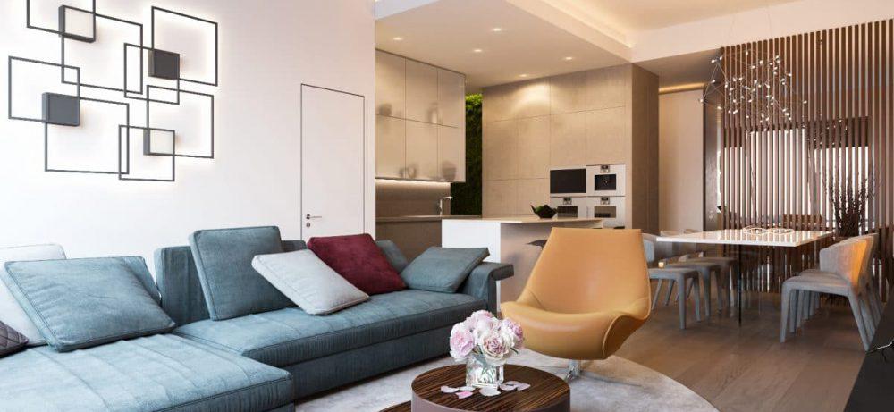 Стильная большая квартира с очень высокими потолками и камином