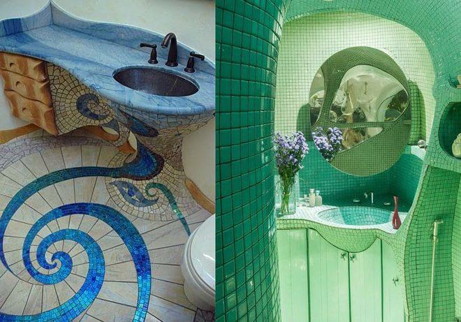 Мозаика в ванной комнате: от полоски до интерьера в духе Гауди