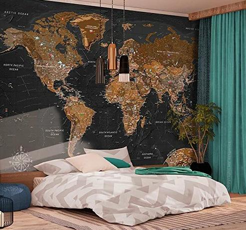 Простые способы использования карты мира в интерьере