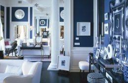 Достоинства и возможности бело-синего интерьера